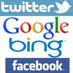Logos von Twitter, Google, Bing und Facebook