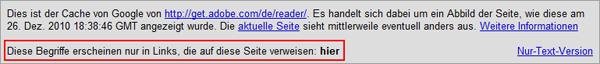 """Google Cache: Adobe Acrobat Reader rankt für """"hier"""" auf Grund des Ankertextes"""