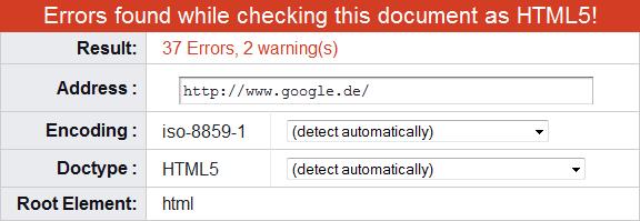 Validierungsfehler von http://www.google.de/ am 31.12.2010