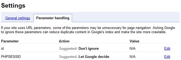 Einstellungen zur Parameterbehandlung in den Google Webmaster Tools gegen Duplicate Content