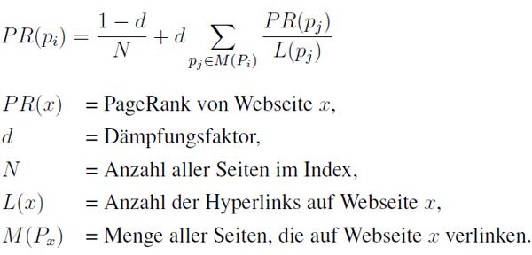 Eine Formel zur Berechnung des PageRanks