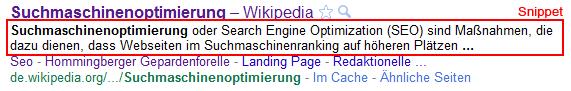 """Ein Snippet zum Suchbegriff """"Suchmaschinenoptimierung"""""""