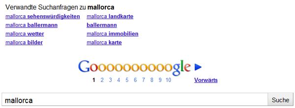 Anzeige verwandter Suchbegriffe zum Suchbegriff Mallorca
