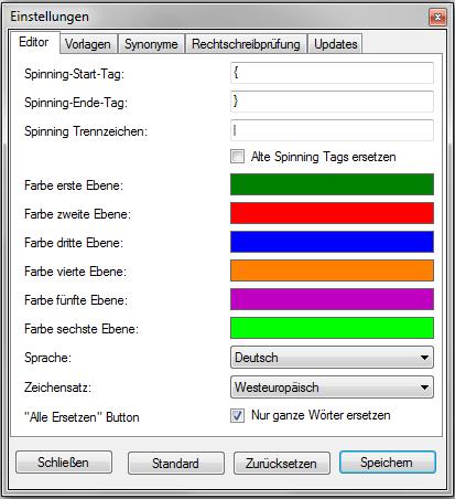 Editor Eigenschaften
