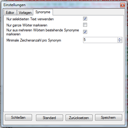 Eigenschaften der Synonyme identifizieren Funktion