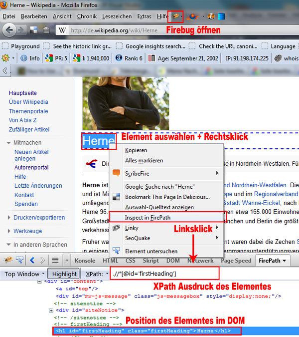 Ermittlung des XPath Ausdrucks mit Hilfe von FirePath
