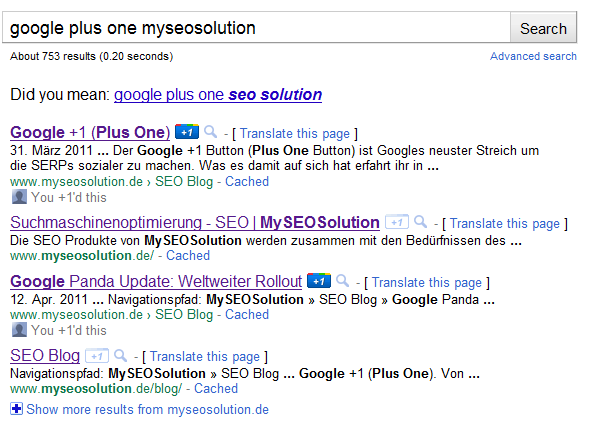 Plus One Button in den SERPs