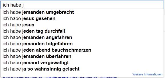 """Google Suggest zu """"ich habe j"""" heute"""