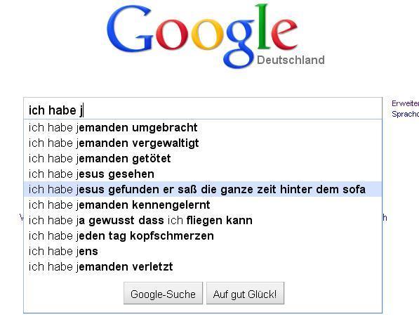 """Google Suggest zu """"habe j"""" früher"""