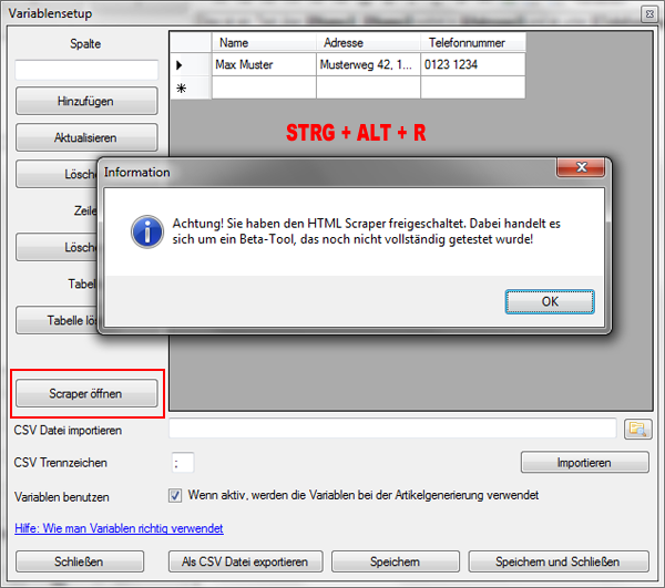 HTML Scraper freischalten