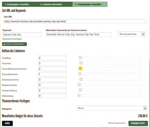 Keywords festlegen und konrekte Linkzahlen definieren