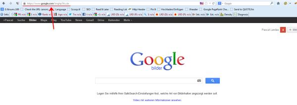 Achtung: Google.com - nicht Google.de!