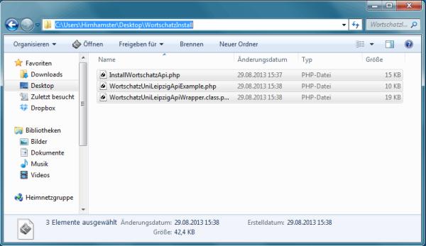Die Worschatz API Wrapper Klasse und die Beispieldatei wurden erzeugt.