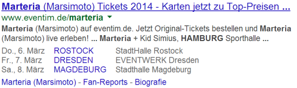 Event Rich Snippets live in den SERPs