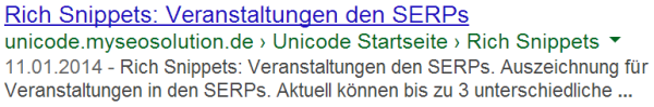 Event Rich Snippets Testseite in den SERPs
