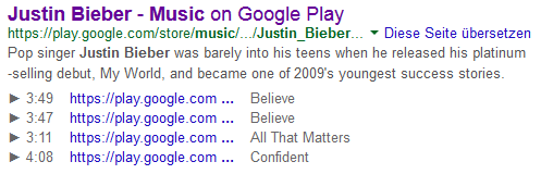 Music Rich Snippets live in den SERPs