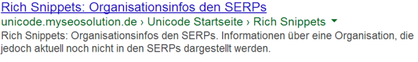 Organisation Rich Snippets Testseite in den SERPs