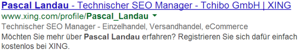 Personen Rich Snippets live in den SERPs