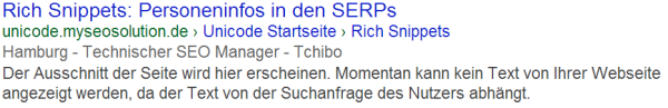 Personen Rich Snippets im Rich Snippet Testing Tool