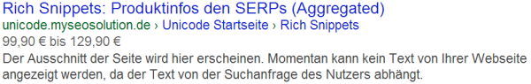 Produkt (aggregiert) Rich Snippets im Rich Snippet Testing Tool