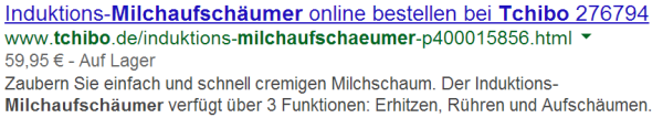 Produkt (individuell) Rich Snippets live in den SERPs