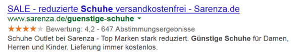 Review (aggregiert) Rich Snippets live in den SERPs