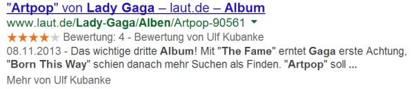 Review (individuell) Rich Snippets live in den SERPs