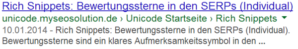 Review (individuell) Rich Snippets Testseite in den SERPs