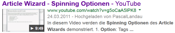 Video Rich Snippets live in den SERPs