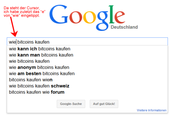 """Google Suggest mit Frageworten für """"Bitcoins kaufen"""""""