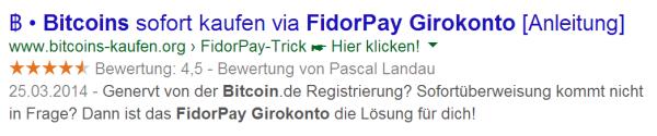 Snippet bei der Suche nach FidorPay Girokonto Bitcoin