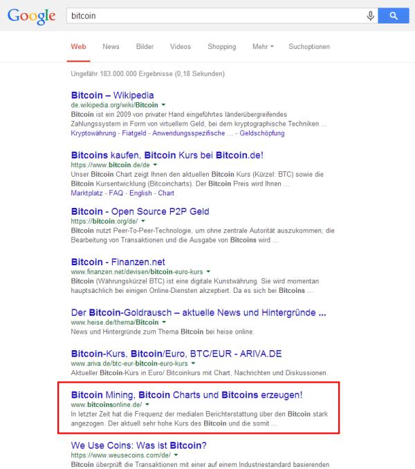 """Top 10 bzw. 8 für """"Bitcoin"""""""