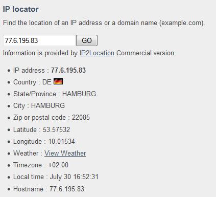 IP Adresse auf einen Ort auflösen