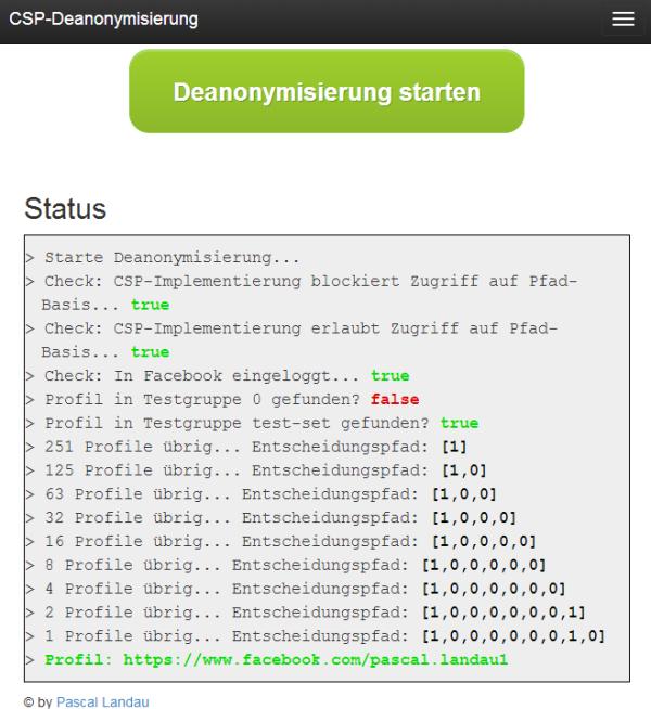 Screenshot vom Tool zur CSP-Deanonymisierung